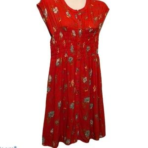 Free People women's floral button front dress S